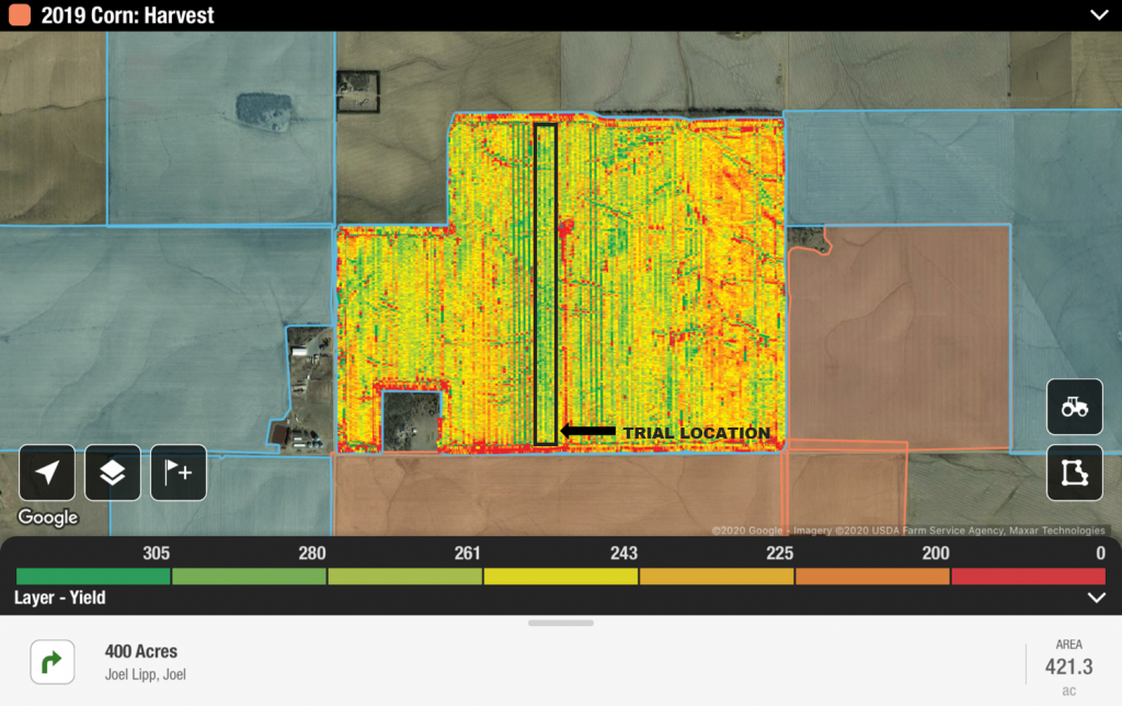 Harvest Data Trial Location LABELLED